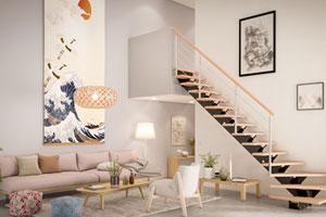 escalier bois japandi